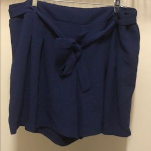 Pants - Belted Tie Front Shorts